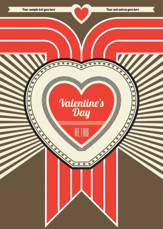 Valentines Day Retro Poster Design - Brown and Red Stock Vector - 14554351