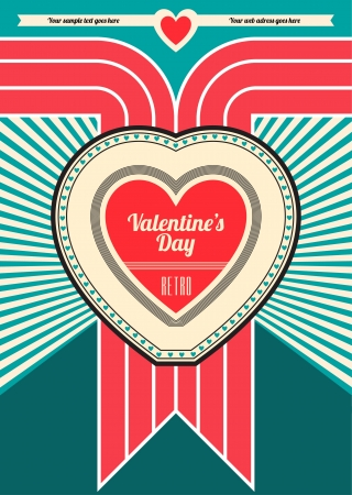Valentines Day Retro Design Stock Vector - 14546543