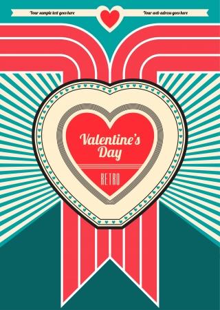 Valentines Day Retro Design Stock Vector - 14546543