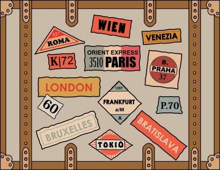 voyage: pegatinas de �poca de viaje en el equipaje de edad