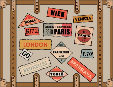 vintage travel stickers on old luggage