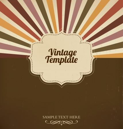 Vintage template with retro sun burst background Vector