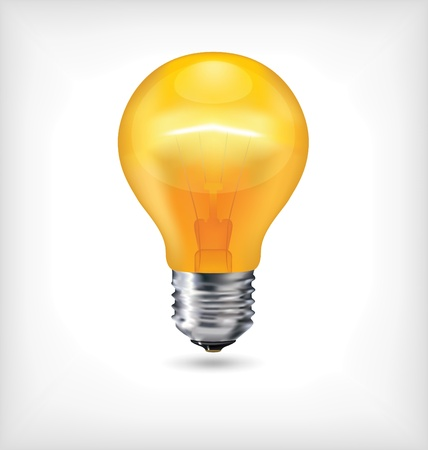 Glossy Light Bulb - Yellow Incandescent Realistic Light Stock Vector - 14576528