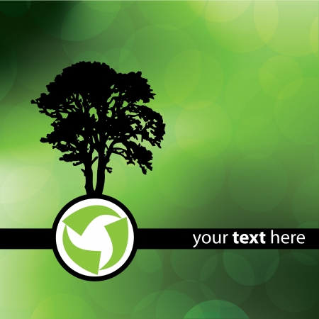 Green Recycle Tree Design Vector