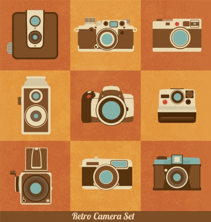 full frame: Retro Camera Set Illustration
