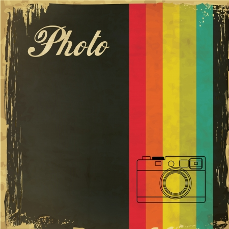 vintage camera: Vintage Template with Camera Design Illustration
