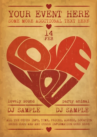Vintage Valentines Day Party Flyer Design Stock Vector - 14559527