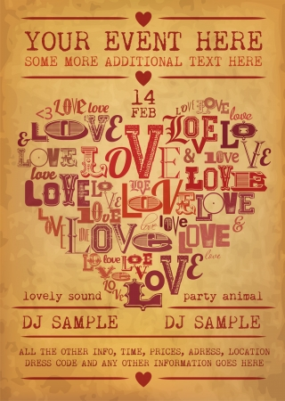 Vintage Valentines Day Party Flyer Design