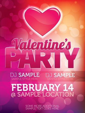 Valentines Party Flyer Stock Vector - 14559524