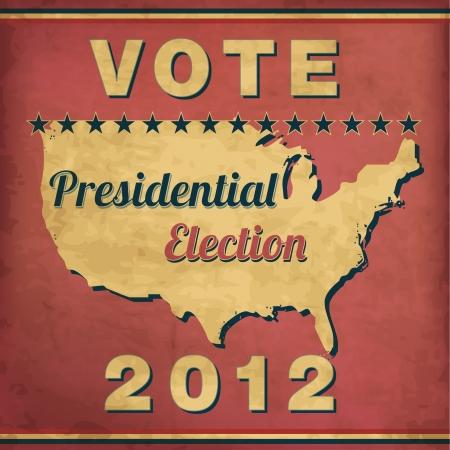 presidential: Vote - Vintage Presidential Election Design Illustration