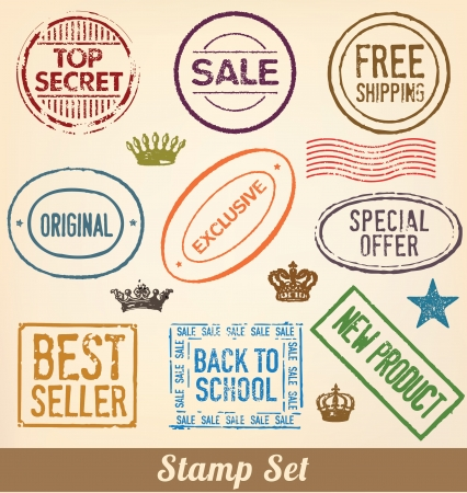 Stamp Set - Collection of detailed merchandise stamps for your product or business Stock Vector - 14789694