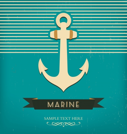 Vintage Design Template With Anchor Illustration