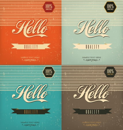 Set of Vintage Design Templates Illustration