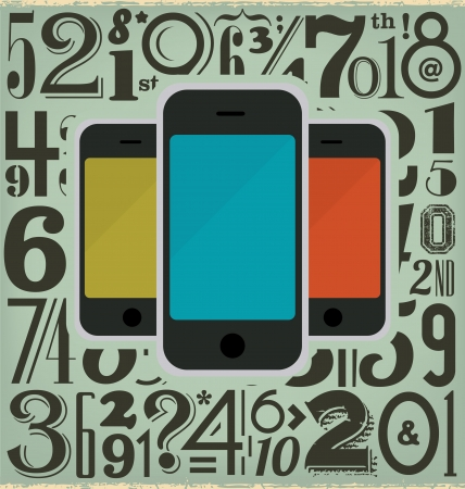 Retro Phones and Numbers Design Stock Vector - 15523133