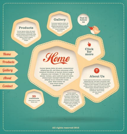 Retro Landing Page Web Design Template Vector
