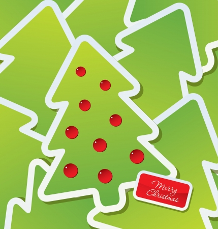 Christmas theme - Decorated green Christmas tree labels Vector