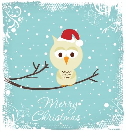 kerstmuts: Christmas Greeting - Uil in een kerstmuts
