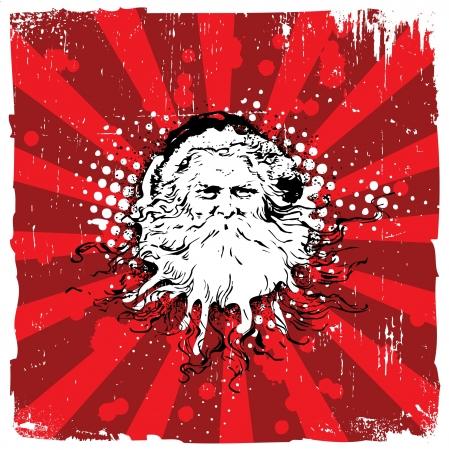 Christmas Design - Grungy Old Santa Claus Vector