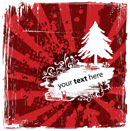 Grungy Red Winter Background Vector