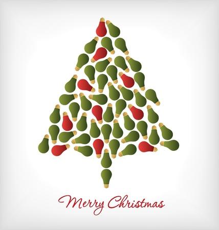 christmas bulbs: Christmas Tree made of light bulbs - Holiday Card Design
