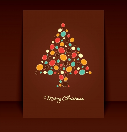 Retro Brown Christmas Card Design Vector