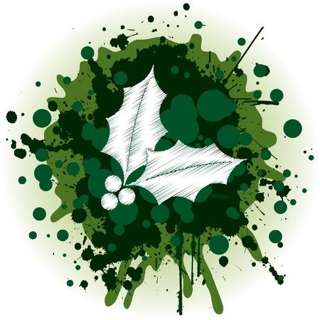 holy leaves: Grungy Christmas Holy Illustration