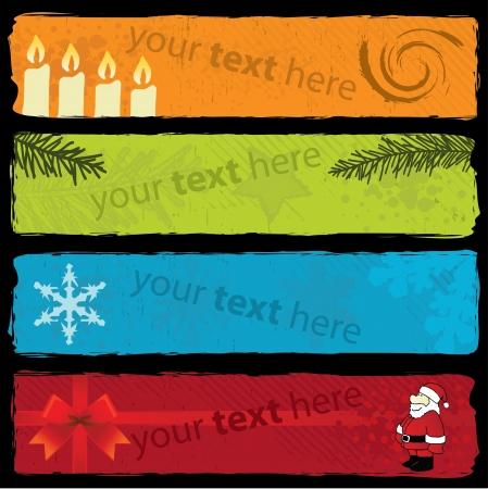 horizontal banner: Grungy Christmas Banners