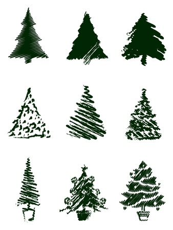 Grungy Christmas Tree Sketch Set Vector