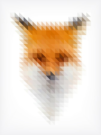 Fox portrait made of small triangles Illustration
