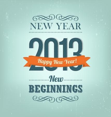 2013 - calligraphic new year greeting design Ilustracja