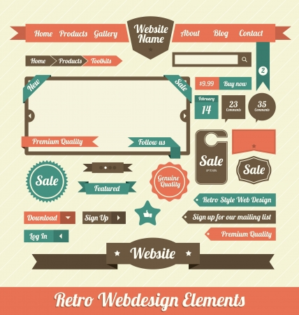 web design icon: Retro Elementos de Dise�o Web Vectores