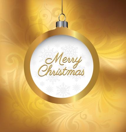 Golden Christmas Greeting Card Vector
