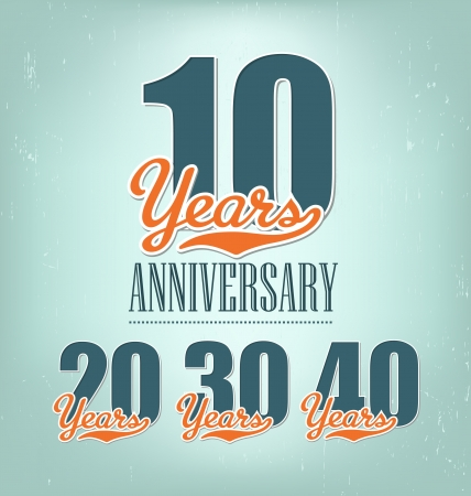 10 number: Anniversary design in retro style