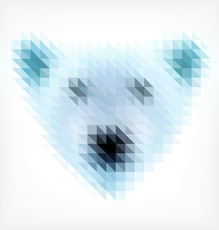 Bear Portrait Made of Small Triangles Vector