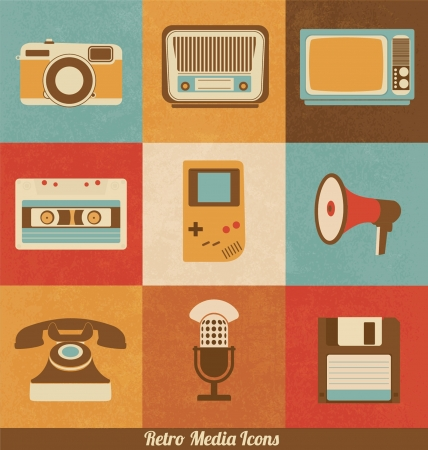 old office: Retro Media Icons Illustration