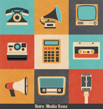 vintage telephone: Retro Media Icons Illustration