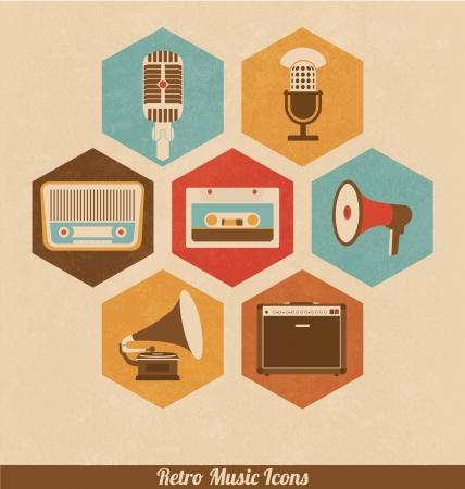 pictogrammes musique: Ic�nes Musique R�tro