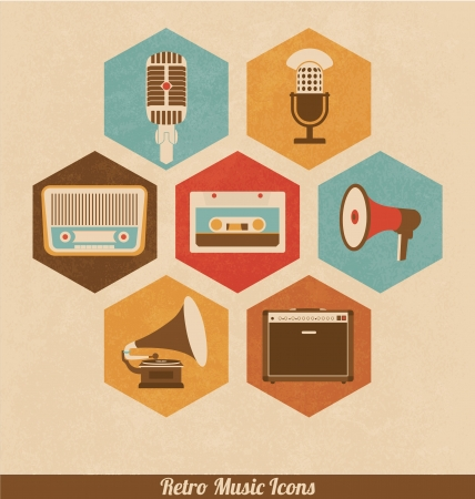 retro radio: Retro Music Icons Illustration
