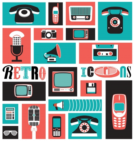 recorder: Retro Icon Set Illustration