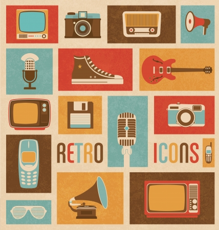 vintage telephone: Retro Icon Mix Illustration