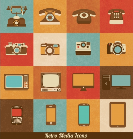Retro Media Icons Illustration