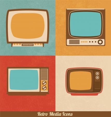 siebziger jahre: Retro Fernsehen Icons Illustration