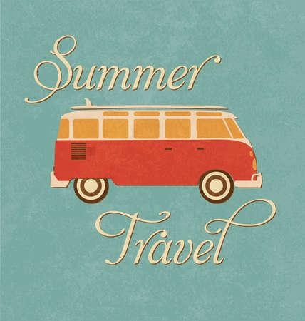 anni settanta: Estate Travel Design - Camper Van Vettoriali