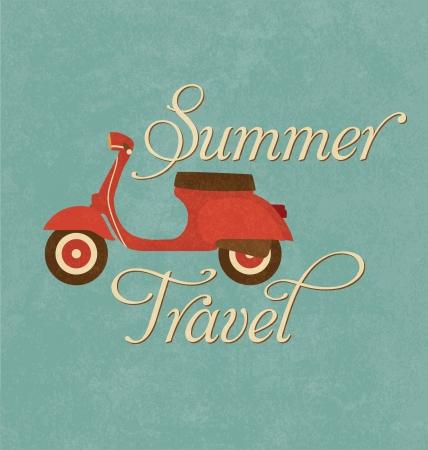 夏の旅行デザイン - 赤いスクーター  イラスト・ベクター素材