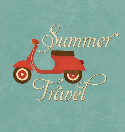 motor scooter: Summer Travel Design - Red Scooter