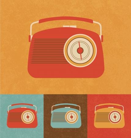 radio station: Retro Icons - Hand Radio Stock Photo