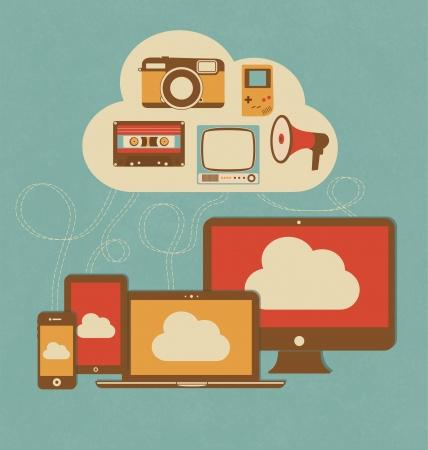 cloud security: Retro Style Cloud Concept Illustration