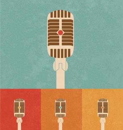 voices: Iconos Retro - Micr�fono Vectores