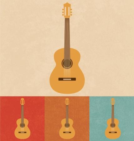 guitar illustration: Retro Icons - Acoustic Guitar