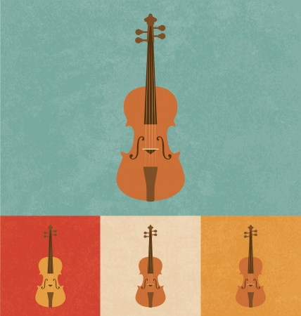 chiave di violino: Retro Icone - Violino Vettoriali